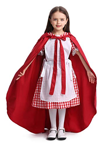 Girl Cartoon Cosplay Rural Costume Apron Maid Dress Halloween Christmas Theater School Festival Performance Prairie Farmyard with Cloak, Red, M3040 -