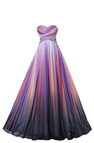Gorgeous Bridal Stylish Empire Sweetheart Hi-Lo Long Printed Evening Prom Dress- US Size 20W