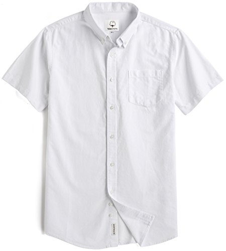 Button Down Collar Oxford Shirt (Men's Short Sleeve Oxford Button Down Casual Shirt White Medium)