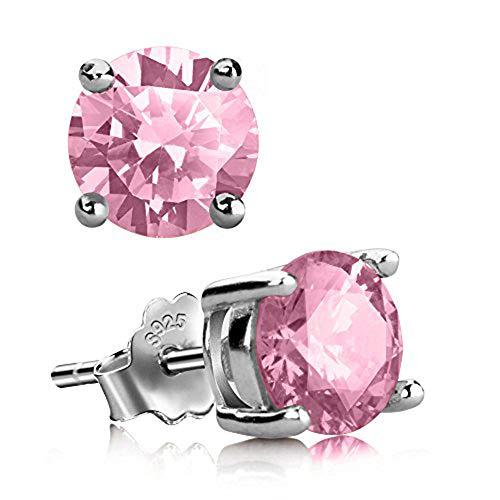 Stud Earrings, UHIBROS Hypoallergenic Silver Ear Stubs Birthstone Round Cubic Zirconia Diamond Earrings (October-Light Rose) ()