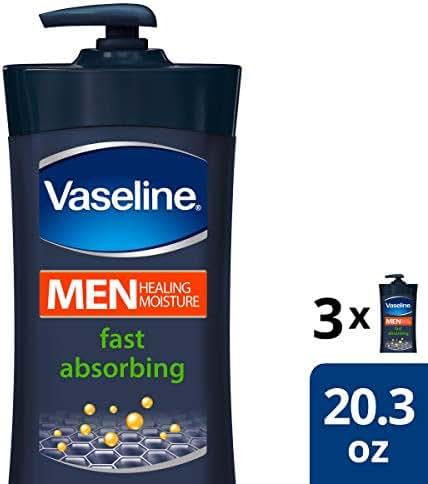 Vaseline Men Body Lotion Fast Absorbing Healing Lotion 20.3 oz 3 ct