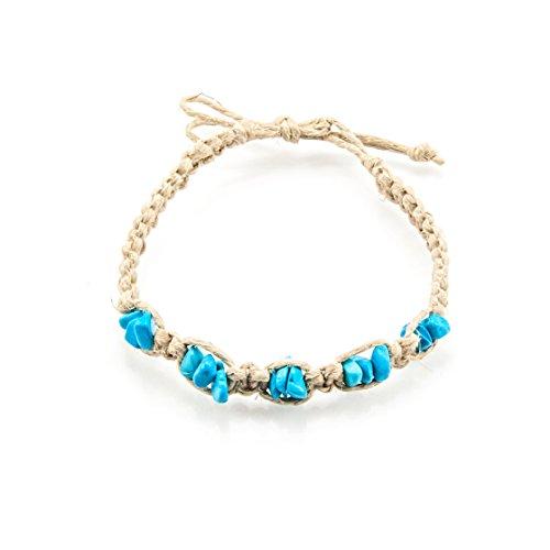 Hemp Anklet Bracelet with Semi Precious Gemstone Chips (Dye Howlite, Turquoise)