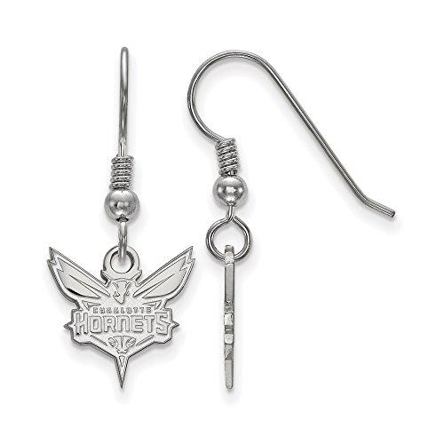 NBA Charlotte Hornets Small Dangle Earrings in Sterling Silver by LogoArt