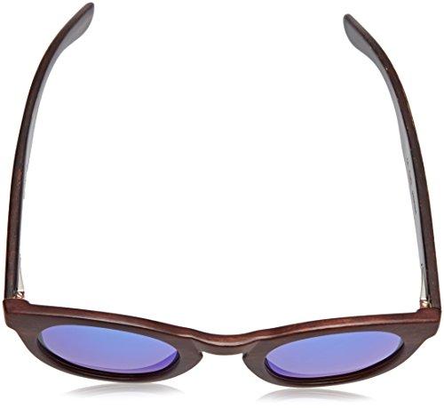 Ocean Sunglasses San Francisco Lunettes de soleil Bamboo Dark Frame/Wood Dark Arms/Revo Blue Lens 8HB1nTzlS
