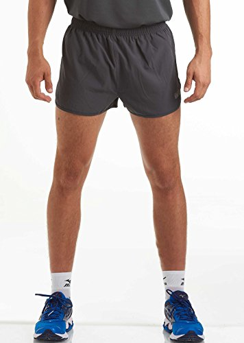 (time to run Men's Lightweight Pace Running/Gym/Athletic/Training/Workout/Jogging Shorts with Liner Medium Charcoal/Deepwater Blue)