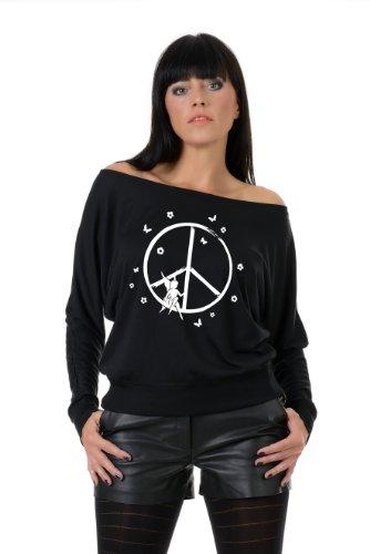 camiseta manga larga / T-Shirt mujer estampa - elfo de la paz - 3Elfen negro blanco
