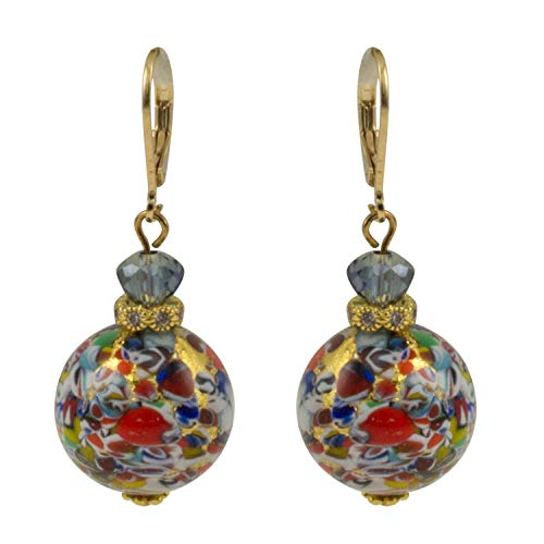 Just Give Me Jewels Venice Murano 18mm Gold Foil Klimt Bead Dangle Earrings