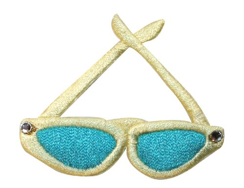 ID #9038 Pair of Wayfarer Sunglasses Shades Embroidered Iron On Applique - Id Sunglass
