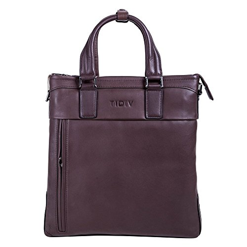 TIDIV Men's Briefcase Messenger Shoulder Bag Cow Leather Bag Handbag by TIDIV