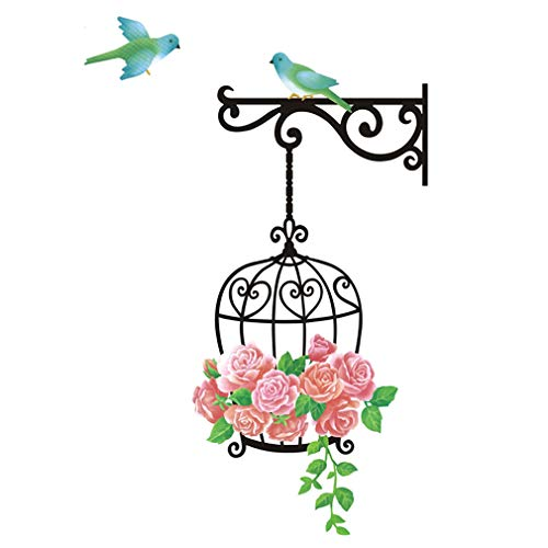 (Wall Sticker Roses Flowers Birds Cage Paper Home Decal Removable Wall Vinyl Living Room Bedroom PVC Art Picture Murals Waterproof DIY Stick for Adults Teens Kids Nursery Baby)