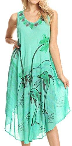 (Sakkas 18122 - Valentina Summer Casual Light Cover-up Caftan Dress with Tropical Print - Sea Green - OS)