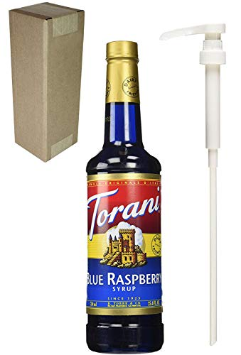 Torani Blue Raspberry Flavoring Syrup, 750mL (25.4 Fl Oz) Glass Bottle, Individually Boxed, With White Pump