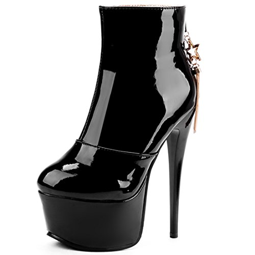 Vitalo Womens Sexy High Heel Platform Patent Ankle Boots Zip Ladies Stiletto Party Prom Boots Black