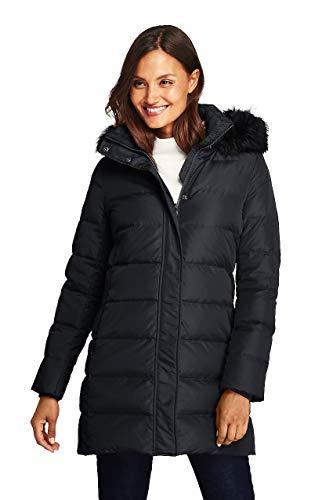Lands' End Women's Winter Long Down Coat with Faux Fur Hood, L, Black Faux ()