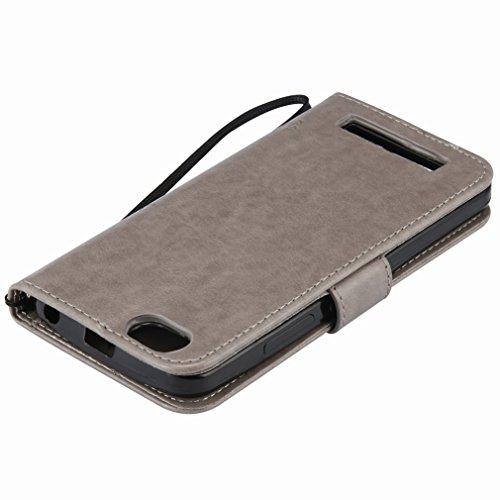 Custodia Lenovo Vibe C (A2020) Cover Case, Ougger Alberi Gatto Printing Portafoglio PU Pelle Magnetico Stand Morbido Silicone Flip Bumper Protettivo Gomma Shell Borsa Custodie con Slot per Schede (Gri