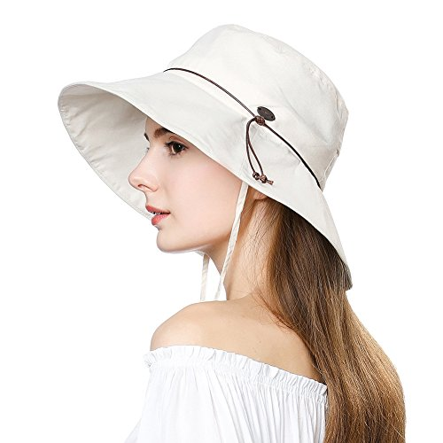 Womens Sun UV Protection Hats Cap Wide Brim Summer Garden Shade Hat Crushable Beige SiggiHat ()