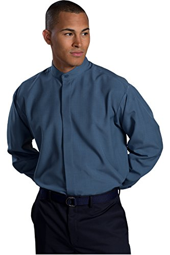 Ed Garment Men's Long Sleeve Banded Collar Shirt, RIVIERA BLUE, XX-Large