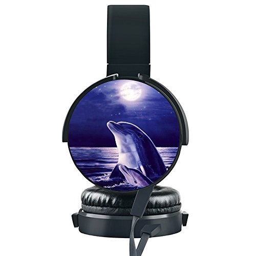 Moonlight Dolphin Art Wired Headset, INmark Fordable Headset [Noise Canceling] [Hands-free Phone Calls] for iPhone/Samsung/LG/HTC/Blackberry/Huawei/ZTE/PC/ iPad/Laptop and more. (Moonlight Dolphin)