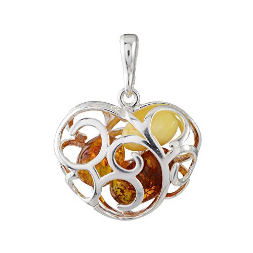 HolidayGiftShops Sterling Silver and Baltic Amber Faithful Heart Pendant