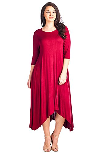 12-ami-plus-size-solid-3-4-sleeve-pocket-loose-maxi-dress-red-xxl