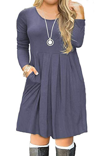 FOLUNSI Women's Plus Size Casual Long Sleeve Pleated T Shirt Dress with Pockets Purple Gray XL ()