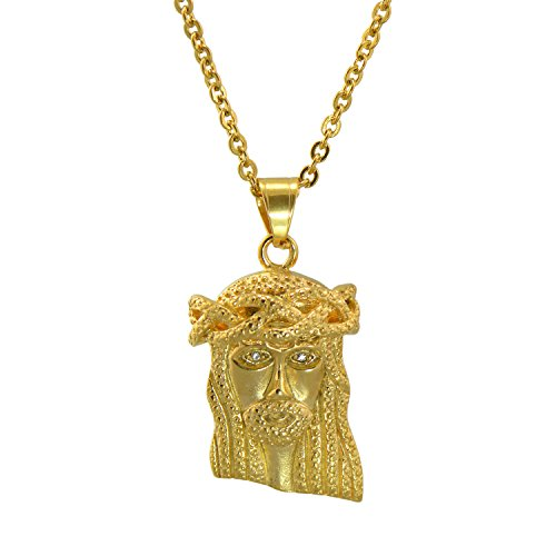 Arab Costume Jewellery (Paialco Hip Pop Stainless Steel Jesus Face Pendant Necklace 24 Inches Yellow Gold Flashed)