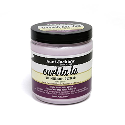 Aunt Jackie's Curl La La, Lightweight Curl Defining Custard, Creates Long Lasting Curly Hair with Mega-moisture Humectants, Enriched with Shea Butter and Olive Oil, 15 Ounce Jar
