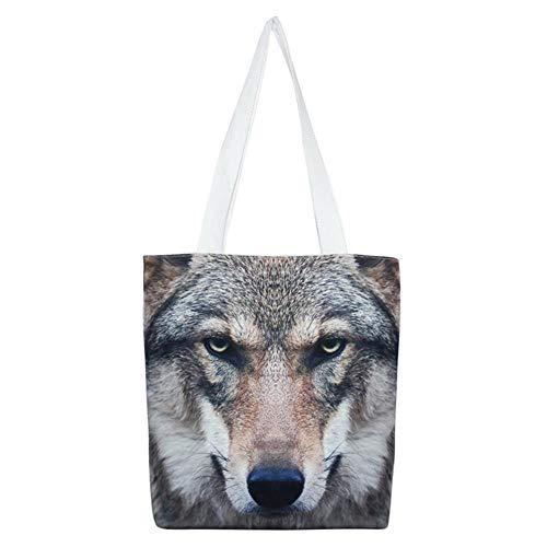 Fashion 3D Casual Wolf di Zipper Shopping Stampato mano Libri Canvas Borsa School Maniglie a Portable viaggio Weohau Borsa SUHwEE