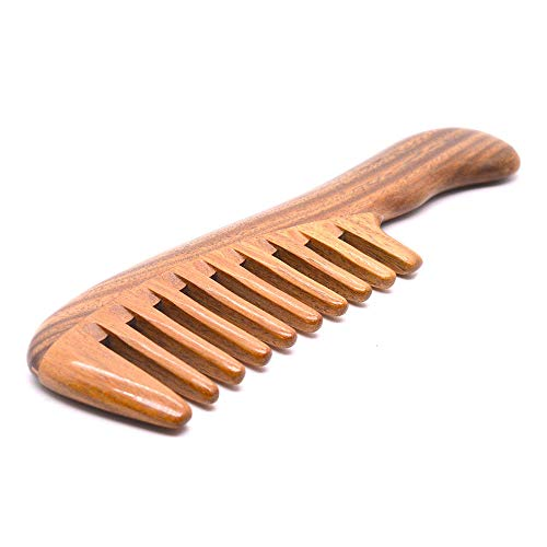 Xuanli Hair Comb for Detangling - Wide Tooth Wood Comb for Curly Hair - No Static Natural Wooden Green Sandalwood Comb for Women, Men (M048)