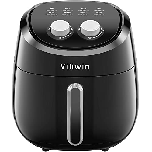 Air Fryer, 4.5 QT Oil-free Air Fryer Oven with Temperature Control & Timer Knob, Nonstick Basket, Dishwasher Safe, Easy to Use, Auto Shut-off, 1400W Air Frier Cookers (black)
