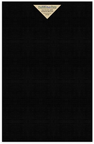 35 Black Linen 80# Cover Paper Sheets - 12