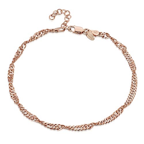14K Rose Gold Plated on 925 Fine Sterling Silver 3.6 mm Adjustable Anklet - Singapore/Prince of Wales Chain Ankle Bracelet - 9
