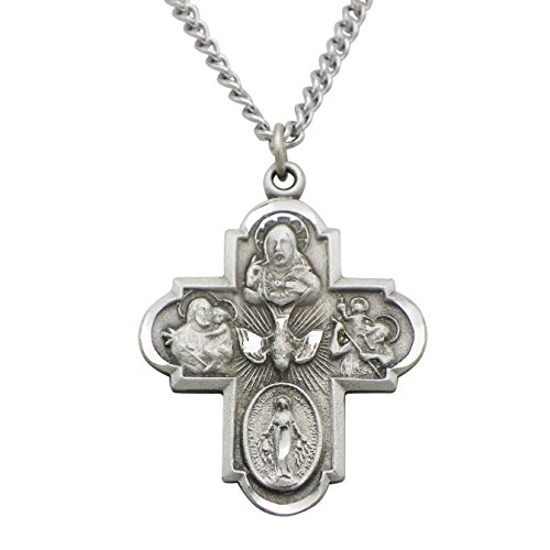 Rosemarie Collections Religious Gift Traditional Catholic Four Way Cross Medal Pendant Necklace 24