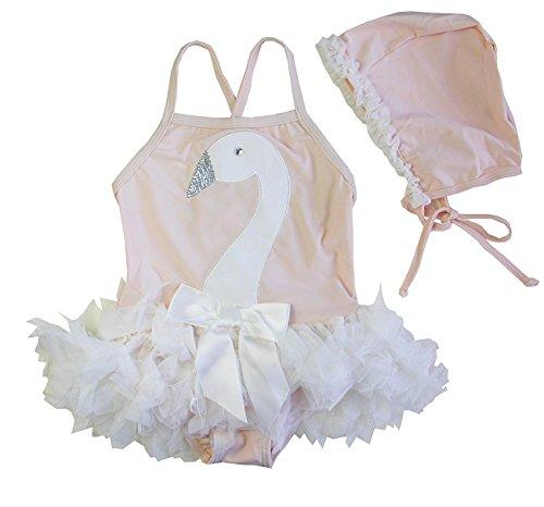 Kirei Sui Girls Rhinestone Swan Ruffled Tutu Flesh Pink One-Piece Swimsuit Swimwear 6