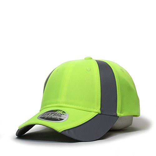 Vintage Year Reflective High Visibility Piping Neon Polyester Twill Low Profile Baseball Cap (Neon Yellow/Ref.Gray)