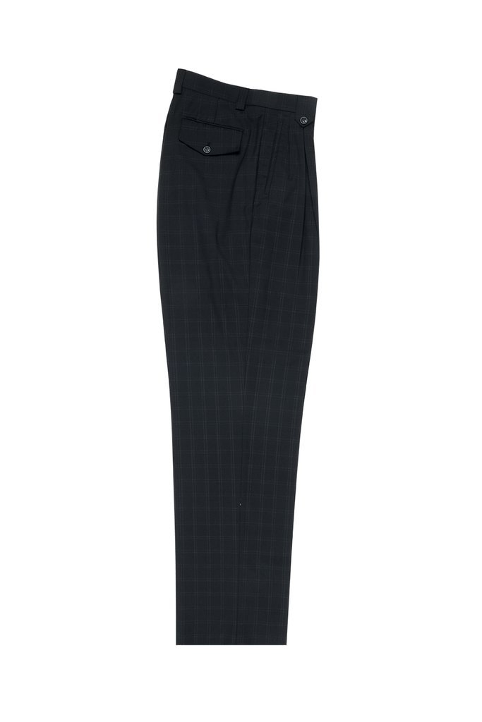 Tiglio Luxe Black with Whitish Gray Windowpane Wide Leg, Pure Wool Dress Pants 2576 FT1323/3