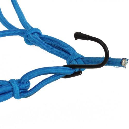 Bungee Motorcycle Helmet Cargo Net 6 Hooks Luggage Package Cargo Net Load Cover Cord Web--Blue