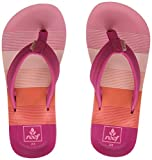 Reef Girls' Little Ahi Sandal, Pink/Stripes, 3-4 M
