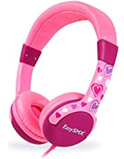 2-Pack Kids Headphones, EasySMX KM-666 Wired Over Ears Kids Headset, 85db Volume Limiter, Child-Friendly ABS, Tangle Free Cord, with 3.5mm Aux Jack for Children (Blue & Pink)
