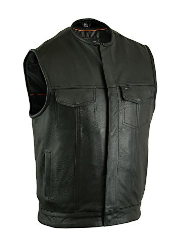 Milled Cowhide (DS181A Concealed Snap Closure, Milled Cowhide, Without Collar & Hidden Zipper - Motorcycle Vest)