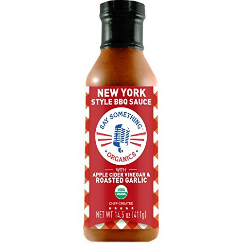 Say Something Apple Cider Vinegar Barbecue Sauce (New York Style) Organic BBQ Sauce with Regionally Inspired Apple Cider Vinegar Sauce with Roasted Garlic Perfect for Healthy, Authentic Meals