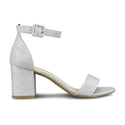 Simple Heel Party Block Pump Shimmer Women's Formal Strappy Standard C Silver Chunky Low Premier Classic Wedding gzxvYnI