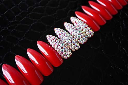 EDA LUXURY BEAUTY RED 3D GLAMOROUS JEWEL DESIGN Full Cover Press On Gel Glitter Artificial Nail Tips Shiny Acrylic Extreme False Nails Extra Long Sharp Round Almond Stiletto Super Fashion Fake Nails