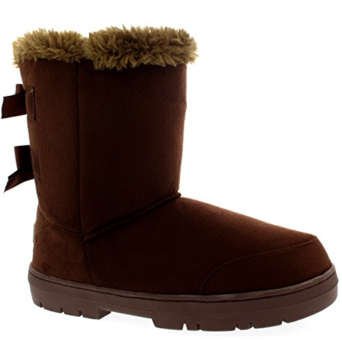[Womens Twin Bow Tall Classic Fur Waterproof Winter Rain Snow Boots - Brown - 11 - 42 - AEA0236] (Brown Fur Boots)