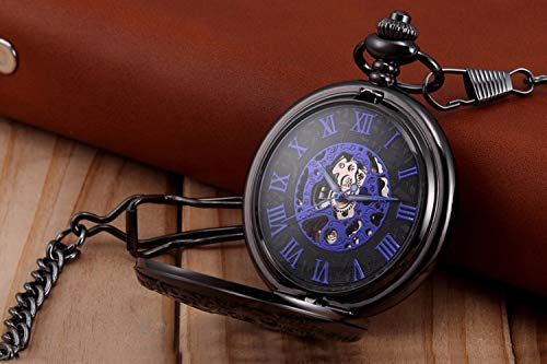 LYMFHCH Steampunk Blue Hands Scale Mechanical Skeleton Pocket Watch with Chain As Xmas Fathers Day Gift by LYMFHCH (Image #2)