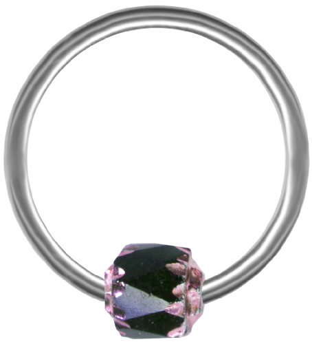 BodySparkle Body Jewelry Cathedral Nipple Ring Black-Pink-Steel Captive Ring Earring-14g-1/2-12mm