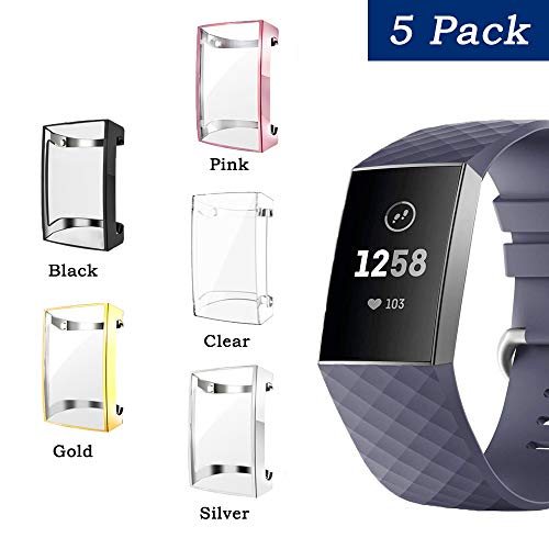 Fibit Charge 2 Screen Protector, iHYQ Slim Soft Full Cover Case for Fitbit Charge 2 Smart Watch (5-Pack, Charge 2)