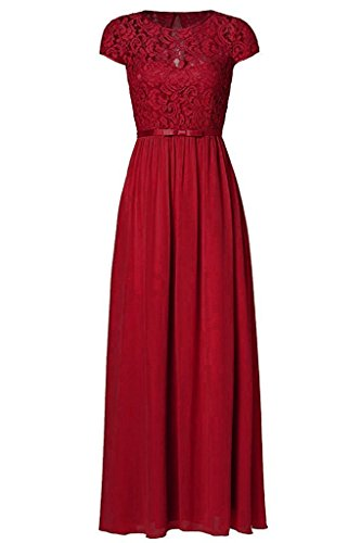 Chiffon Vintage Evening Gown - Victoria Prom Women's Vintage Floral Lace Cap Sleeve Long Chiffon Bridesmaid Evening Dress Burgundy us2