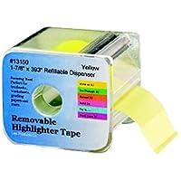 Lee Products Co. 1 7/8-pulgadas de ancho 393 pulgadas de cinta de resaltador extraíble largo con dispensador recargable, amarillo (13150)