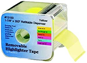 Lee Products Co. 1 7/8-Inches Wide 393-Inches Long Removable Highlighter Tape with Refillable Dispenser, Yellow (13150)